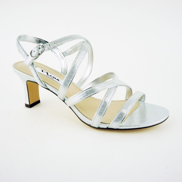 837d6875ddc Nina Women s Genaya Strappy Sandals Heels Silver. M 5af9592200450f3e23d4814b